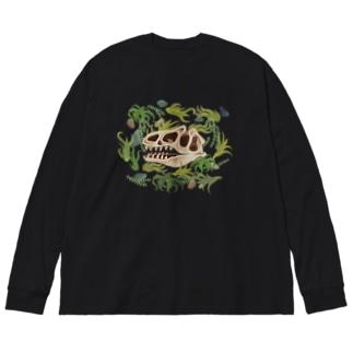 アロサウルス頭骨 Big silhouette long sleeve T-shirts