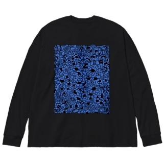 cells よるのくらやみ Big silhouette long sleeve T-shirts