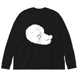 眠るかきもちくん Big silhouette long sleeve T-shirts