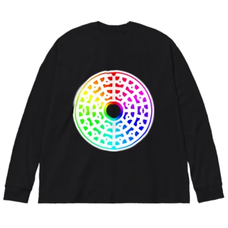 ゲーミングマンホール01_nega白 Big silhouette long sleeve T-shirts