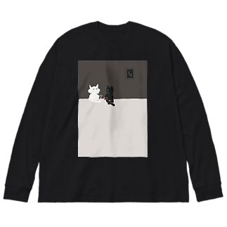 mya-mya=MIYA JUNKO's shop 02のバーの猫たち Big silhouette long sleeve T-shirts