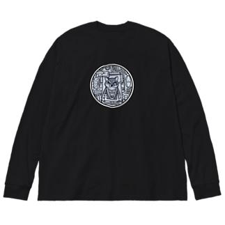コックピット・柴犬(黒柴) Big silhouette long sleeve T-shirts