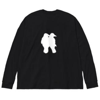 カラス Big silhouette long sleeve T-shirts