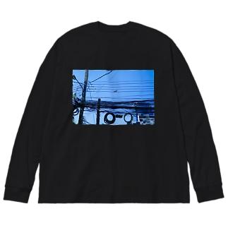 よく見るとリス Big silhouette long sleeve T-shirts