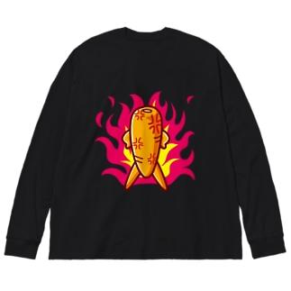 シュール・ザ・ニンジン/怒る Big silhouette long sleeve T-shirts