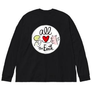 オール世界/ブタさん Big silhouette long sleeve T-shirts