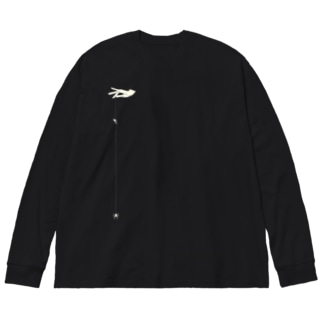 くもの糸 白 Big silhouette long sleeve T-shirts