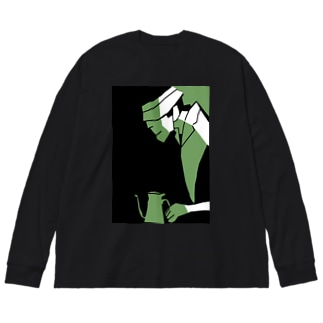 もちもちコーヒー Big silhouette long sleeve T-shirts