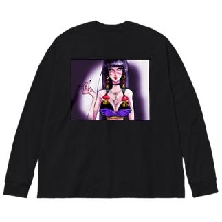 下着姿の女② Big silhouette long sleeve T-shirts