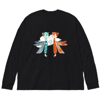 トンボドレス ルリ/アカネ Big silhouette long sleeve T-shirts