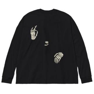 弥勒 白 Big silhouette long sleeve T-shirts
