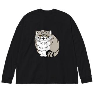 マヌルネコ Big silhouette long sleeve T-shirts