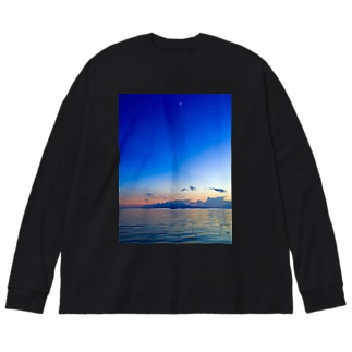 Blue moon Big silhouette long sleeve T-shirts
