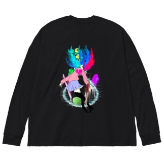命を燃やす Big silhouette long sleeve T-shirts
