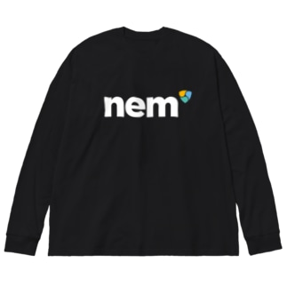 nem表symbol背中上 Big silhouette long sleeve T-shirts