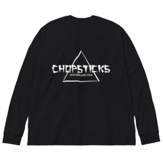 「CHOPSTICKS」横長ロゴ 白文字 Big silhouette long sleeve T-shirts