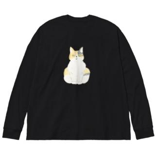 ビックリ顔の三毛猫つぼみ Big silhouette long sleeve T-shirts