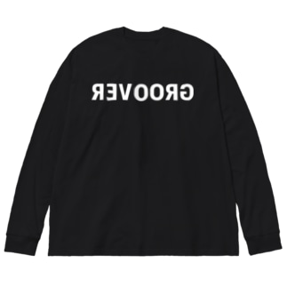 GROOVER Mirror Typo / White Big silhouette long sleeve T-shirts