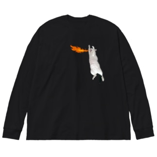 ニャジラ Big silhouette long sleeve T-shirts