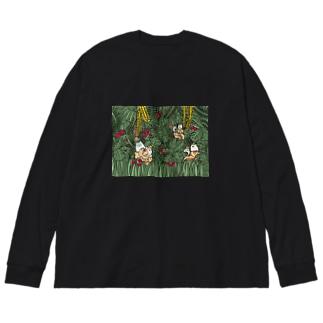 アキラとジャッキー(ジャングル) Big silhouette long sleeve T-shirts