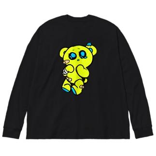 めんべあちゃん「ぴえん」 いえろ! Big silhouette long sleeve T-shirts