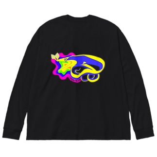 青いハナヒゲウツボ Big silhouette long sleeve T-shirts