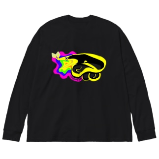 黒いハナヒゲウツボ Big silhouette long sleeve T-shirts