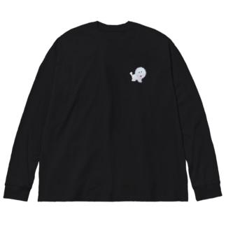 ホワイトライオンくん🦁 Big silhouette long sleeve T-shirts