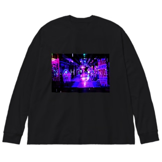 nightmare-パープル Big silhouette long sleeve T-shirts