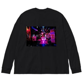 nightmare-レッド Big silhouette long sleeve T-shirts