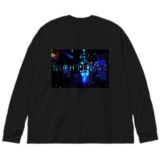 nightmare-ブルー Big silhouette long sleeve T-shirts
