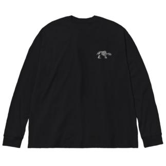 バク(※白ロゴ、濃色用) Big silhouette long sleeve T-shirts