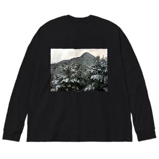 雪山 Big silhouette long sleeve T-shirts