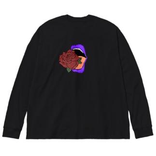 心臓喰 Big silhouette long sleeve T-shirts