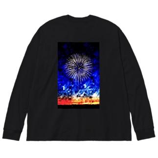 この空の花 Big silhouette long sleeve T-shirts