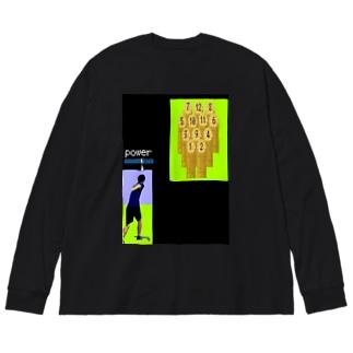 レトロゲーム風モルック Big silhouette long sleeve T-shirts