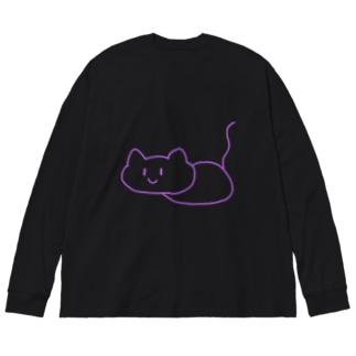 紫のしらかにゃ Big Long Sleeve T-shirt