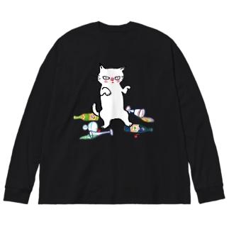 酔拳キャット(白猫) Big silhouette long sleeve T-shirts