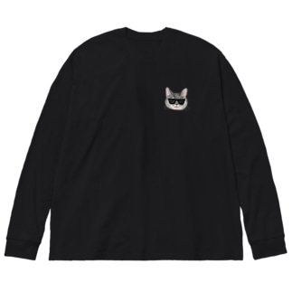 CAT IN  BLACK Big silhouette long sleeve T-shirts