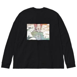 秘めた揺れる心 Big silhouette long sleeve T-shirts