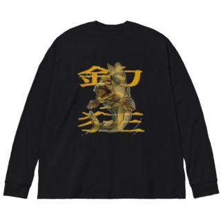 釣り狂 ムツゴロウ Big silhouette long sleeve T-shirts