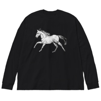 走る馬シャツ Big silhouette long sleeve T-shirts