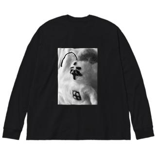 シリアス本田 Big silhouette long sleeve T-shirts