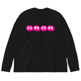 よんれんくらげ ピンク Big silhouette long sleeve T-shirts