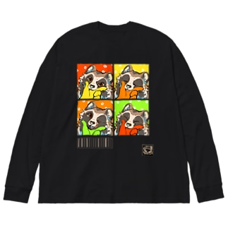 たぬマズルチャレンジ Big silhouette long sleeve T-shirts