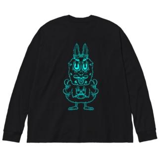 ウサギです。 Big silhouette long sleeve T-shirts