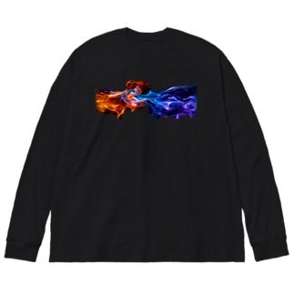 炎 Big silhouette long sleeve T-shirts