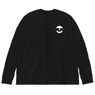馬紋 向かい馬・プール調教 Big silhouette long sleeve T-shirts