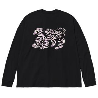 tiger雲 Big silhouette long sleeve T-shirts