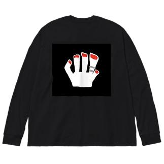 赤色ネイルビッグシルエットロングスリーブTシャツ Big silhouette long sleeve T-shirts